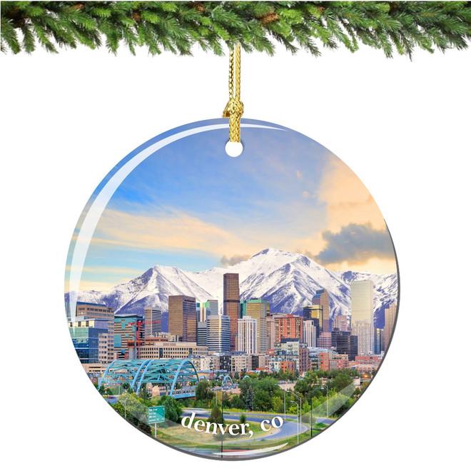 Denver Colorado Christmas Ornament Porcelain Double Sided
