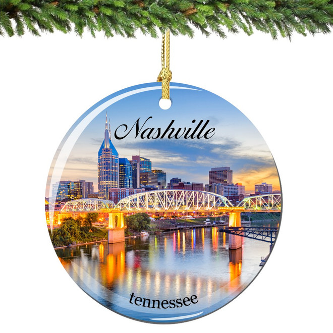 Nashville Christmas Ornament Porcelain Double Sided