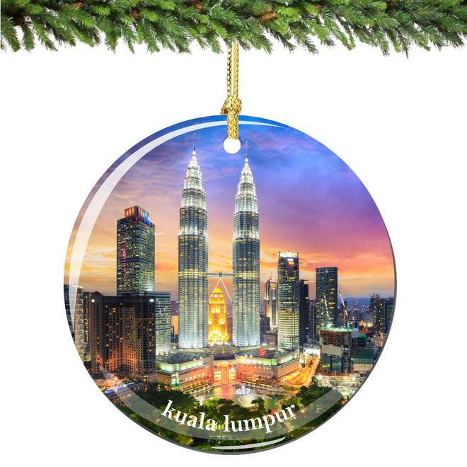 Kuala Lumpur Christmas Ornament Porcelain Double Sided