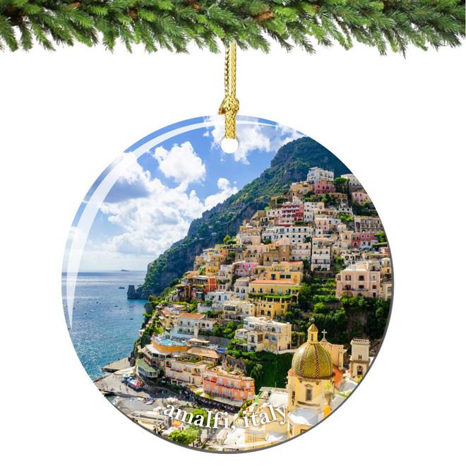 Amalfi Italy Christmas Ornament Porcelain Double Sided