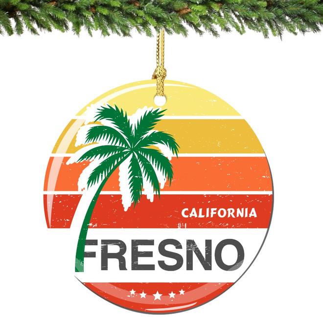 Fresno California Christmas Ornament Porcelain Double Sided