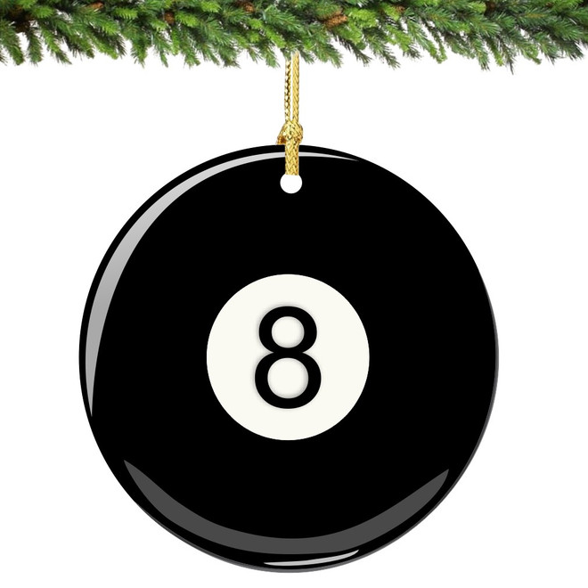 Eight Ball Christmas Ornament Porcelain Double Sided