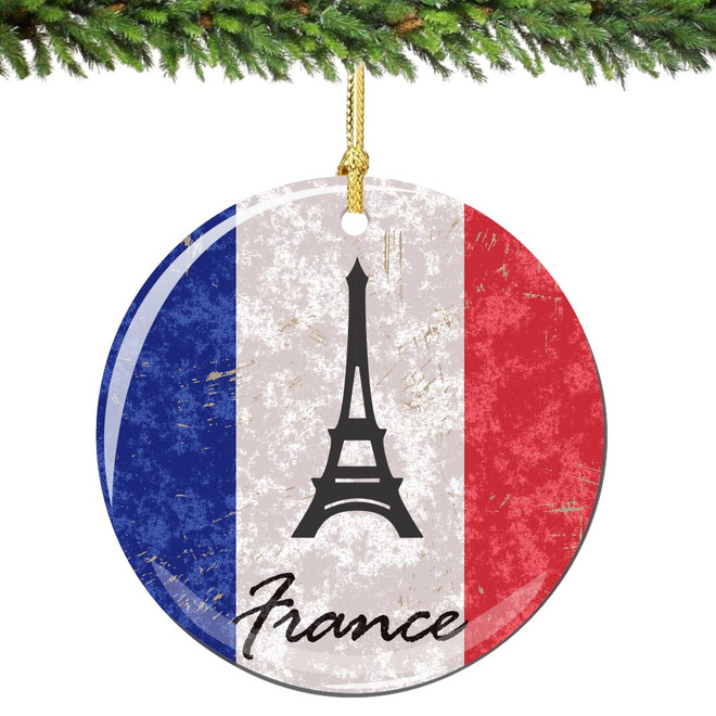 French Flag and Eiffel Tower Christmas Ornament Porcelain
