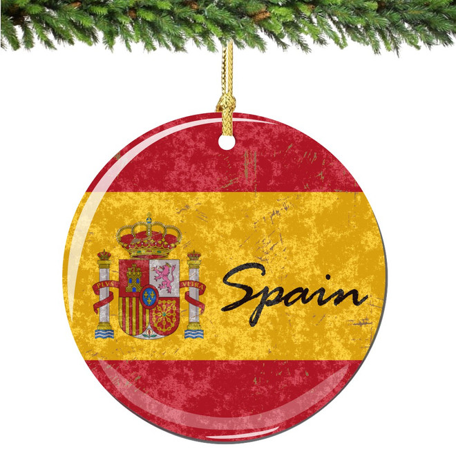 Christmas Spanish.Spain Flag And Shield Christmas Ornament Porcelain Double Sided