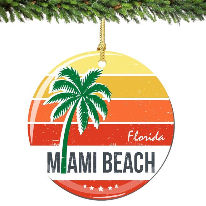 Miami Beach Florida Christmas Ornament Porcelain Double Sided