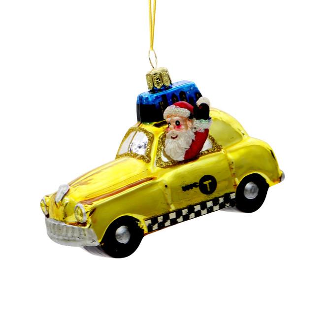 NYC Taxi Santa Glass Ornament