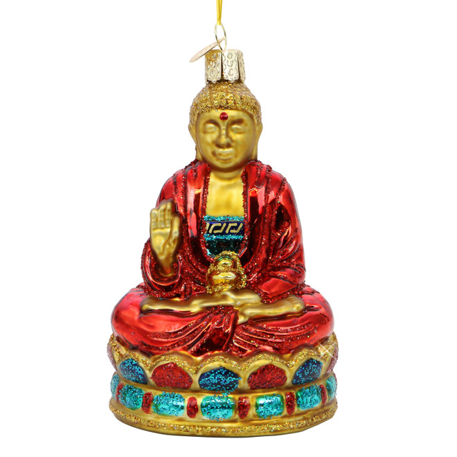 Glass Red Buddha Ornament