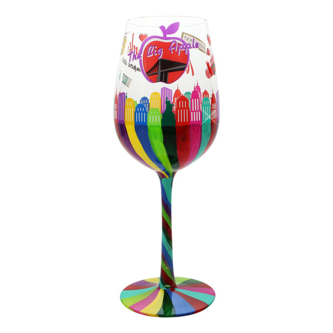 Hand painted New York City Skyline Wine Glass