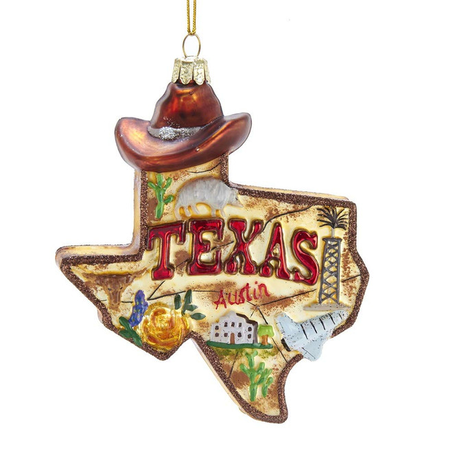 Glass Texas Christmas Ornament