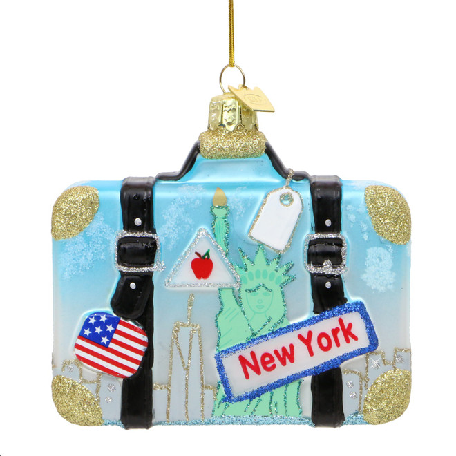 New York Suitcase Glass Ornament