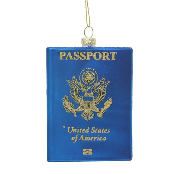 USA Passport Glass Ornament