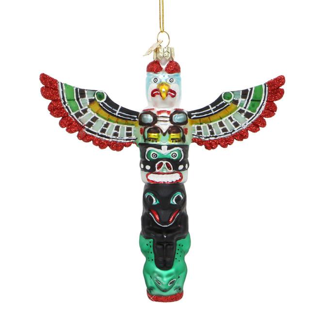 Totem Pole Glass Christmas Ornament