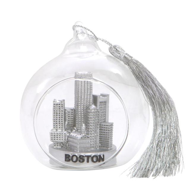 Boston Christmas Ornament Glass Ball