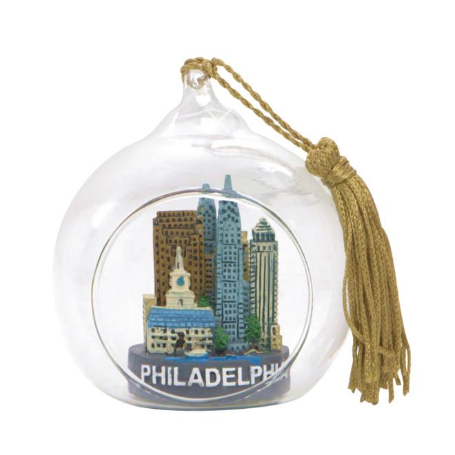 Philadelphia Christmas Ornament Glass Ball