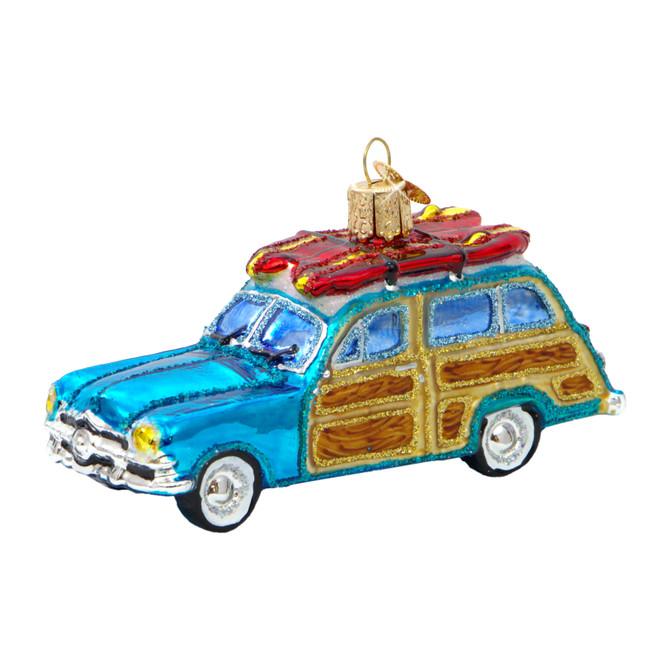 Glass Surf's Up Wagon Woody Christmas Ornament