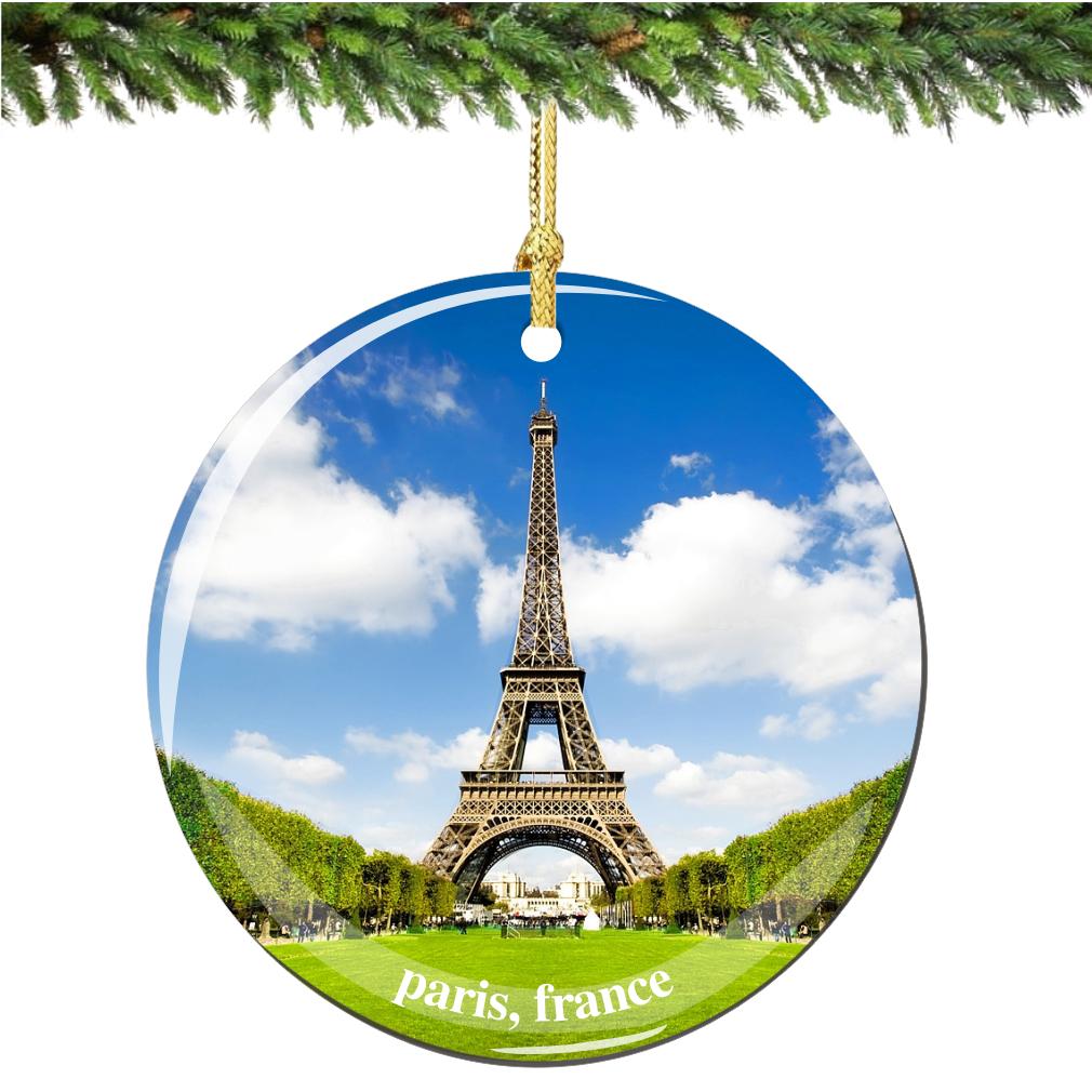 Paris Christmas Ornament.Eiffel Tower Porcelain Christmas Ornament