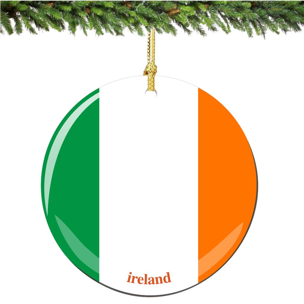 Irish Flag Porcelain Christmas Ornament