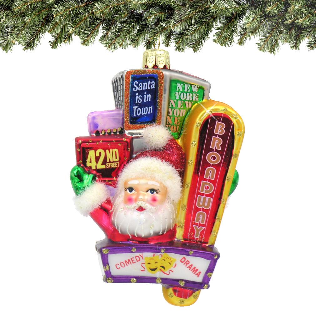 Santa on Broadway Glass Ornament