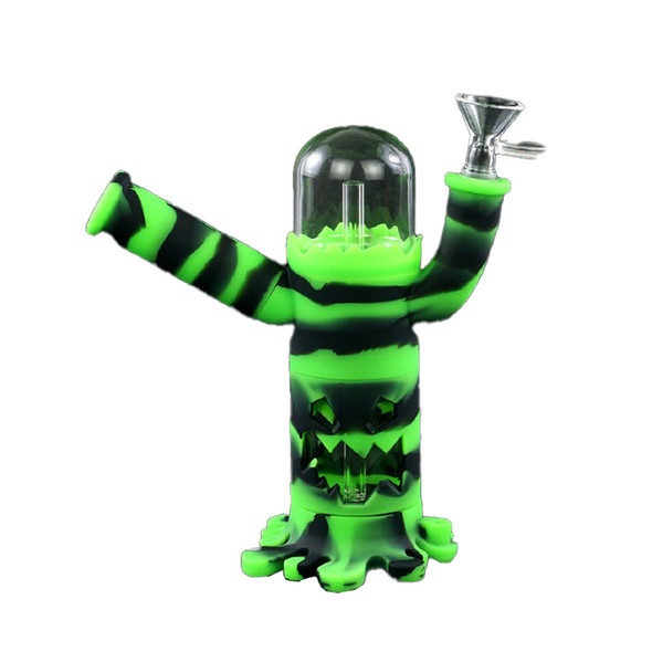 """BLO - """"Robot"""" Silicone Glass Water Pipe - Glow in the Dark"""