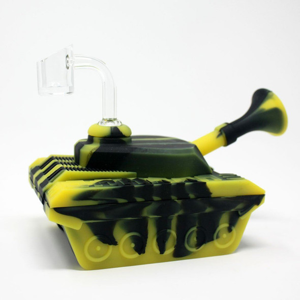 """4"""" Silicone """"Tank"""" Dab Rig / Bong Water Pipe - Black & Yellow"""
