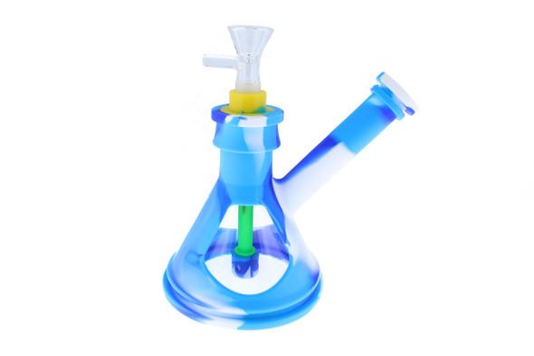 "6"" Silicone Glass Hybrid Beaker Bottom Water Pipe Blue & White"