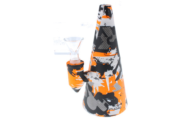 "6"" Orange Pattern Cone Shaped Silicone Bong - Showerhead Perc"