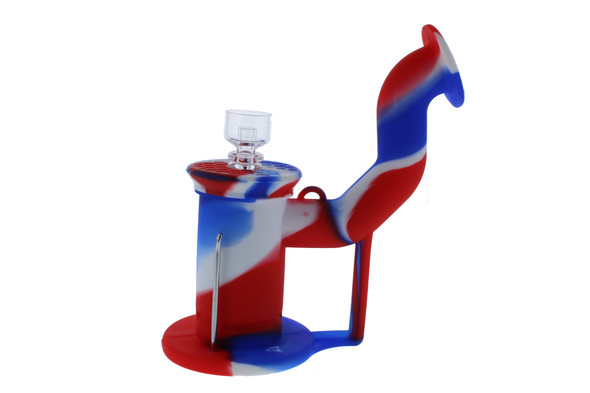 Silicone Dab Rig Waterpipe Kit with Quartz Nail - Red, White & Blue