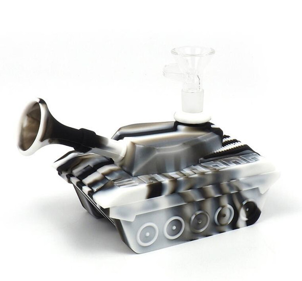 """4"""" Silicone """"Tank"""" Dab Rig / Bong Water Pipe - Black & White"""