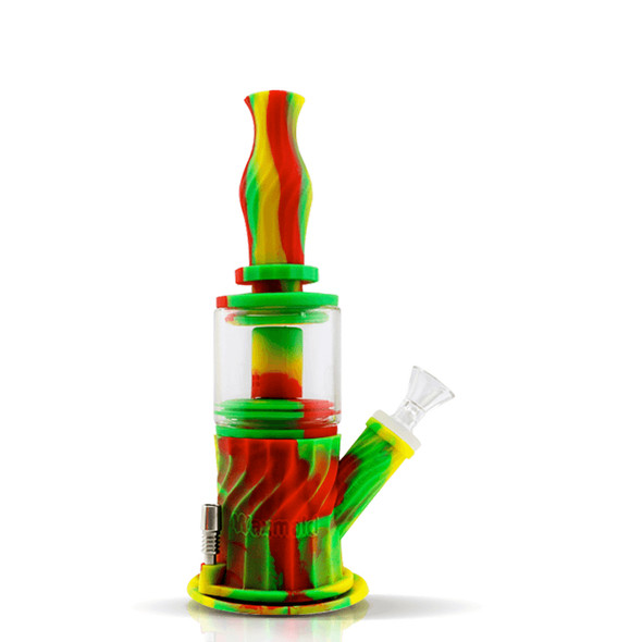 """9.3"""" Silicone Glass 4 in 1 Double Percolator Water Pipe - Rasta"""