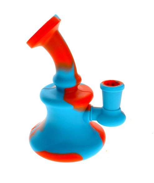 Silicone Water Pipe - Orange/Blue