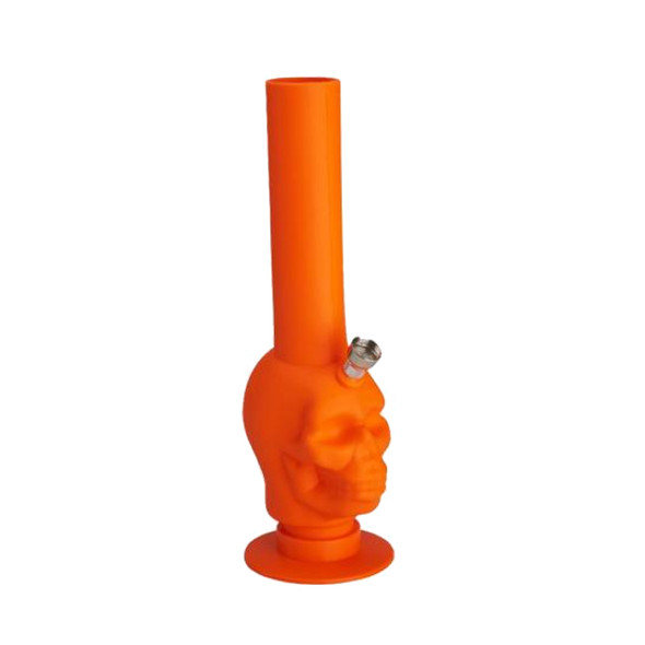 Roll-up-bowl foldable water pipe Colorful Silicone bong Skull Orange