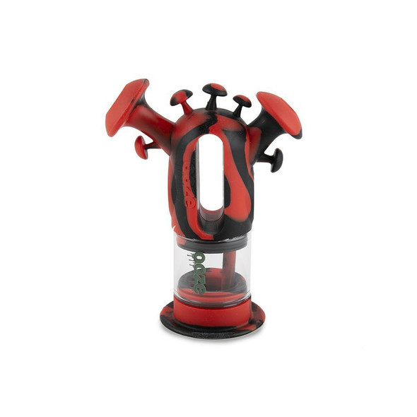 Ooze Trip Silicone Glass Rig and Water Pipe - Red/Black