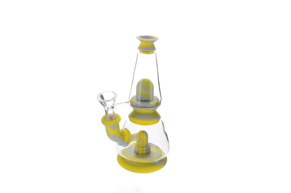 """7"""" Dome Two Parts Silicone Water Pipe Grey Yellow"""