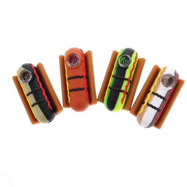 """3"""" Hot Dog Silicone Hand Pipe With Glass Screen"""
