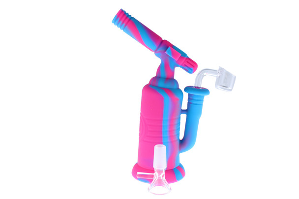 """7.5"""" Torch Silicone Bong / Silicone Rig - Blue & Pink"""