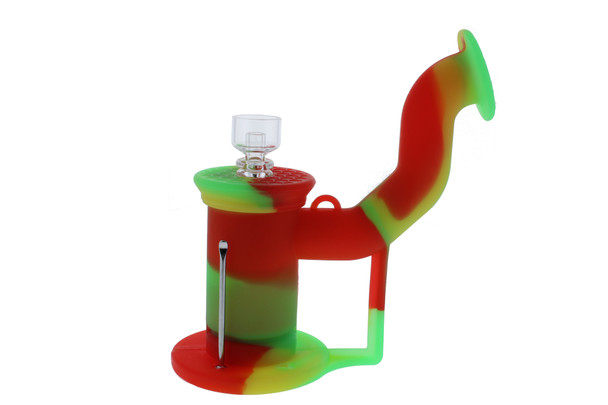 Silicone Dab Rig Waterpipe Kit with Quartz Nail - Rasta