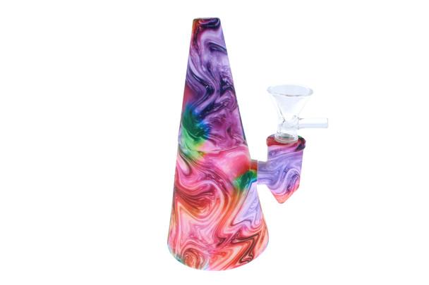 "6"" Tye Dye Swirl Cone Shaped Silicone Bong - Showerhead Perc"