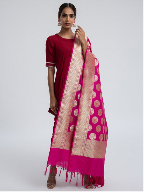 Woven Banarasi Silk Shawl (Big Bindi)