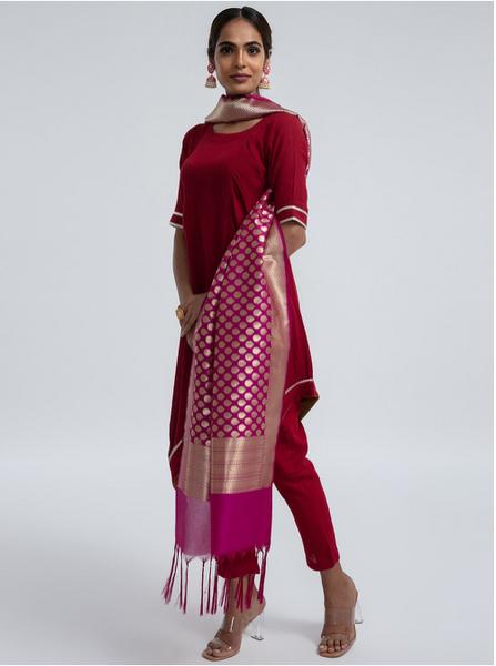 Woven Banarasi Silk Shawl (Bindi)