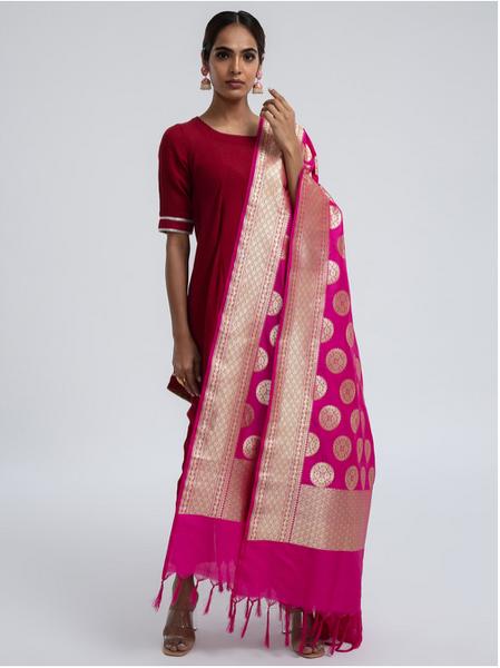 Woven Banarasi Silk Shawl (Big Bindi)