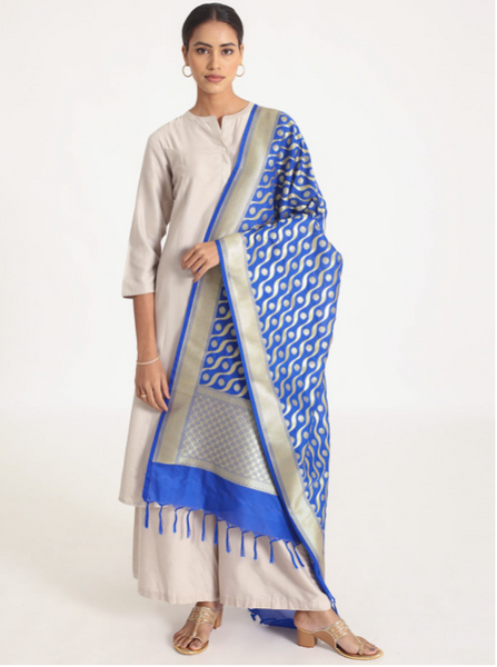 Woven Banarasi Silk Shawl (Traditional)