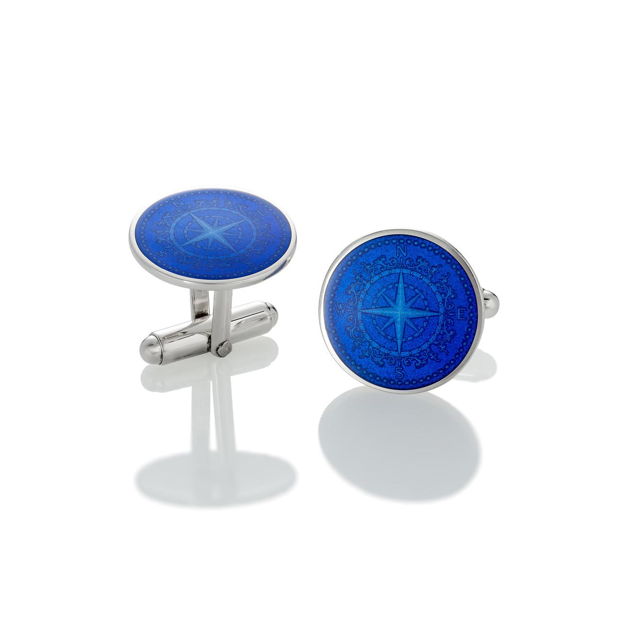 Colby Davis Compass Rose Cufflinks Royal Blue Www