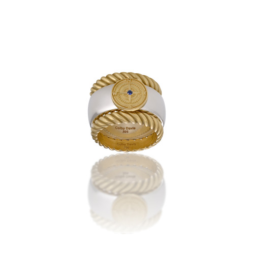 18K Sterling Silver Rowe's Wharf Stackable Ring with Sapphire