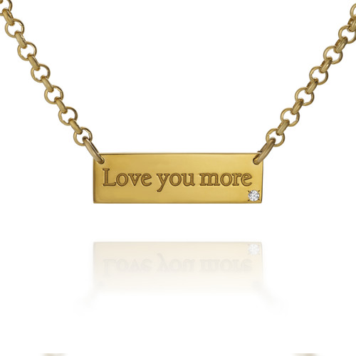 """""""Love You More"""" Gold Vermeil bar necklace with Diamond"""