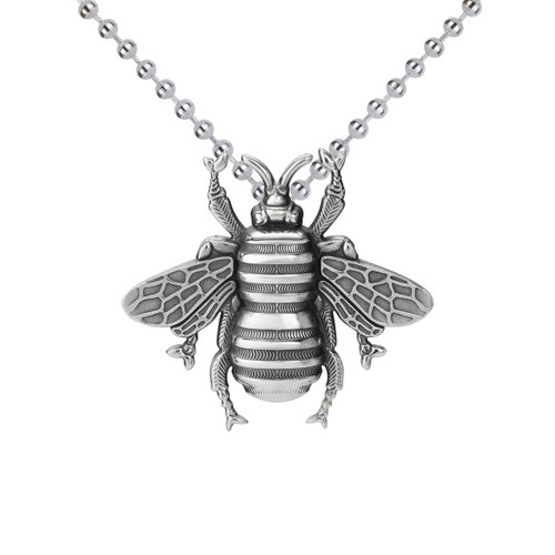 Large Bee Pendant Sterling Silver