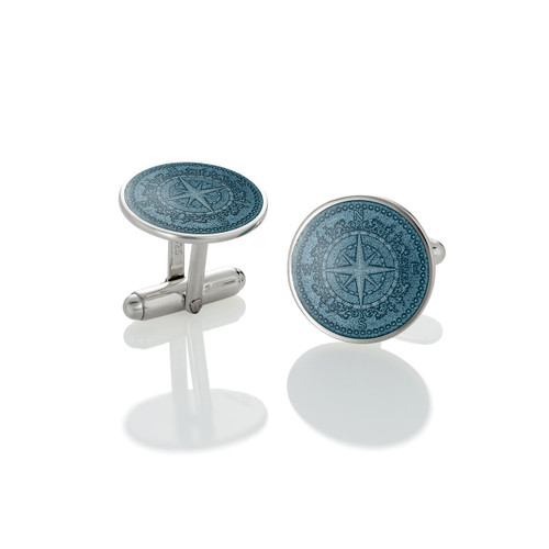 Colby Davis Compass Rose Cuff Links - Gray