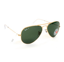 RB3025 Aviator Large Metal Gold w/ Crystal Green Polarized
