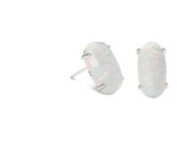 Betty Earrings - Rhodium - White Kyocera Opal