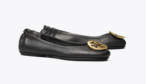 Minnie Travel Ballet Flat with Metal Logo- Black / Gold- Please call 540-368-2111 to purchase!