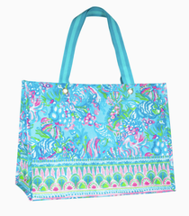 Market Shopper Tote XL - Aqua La Vista